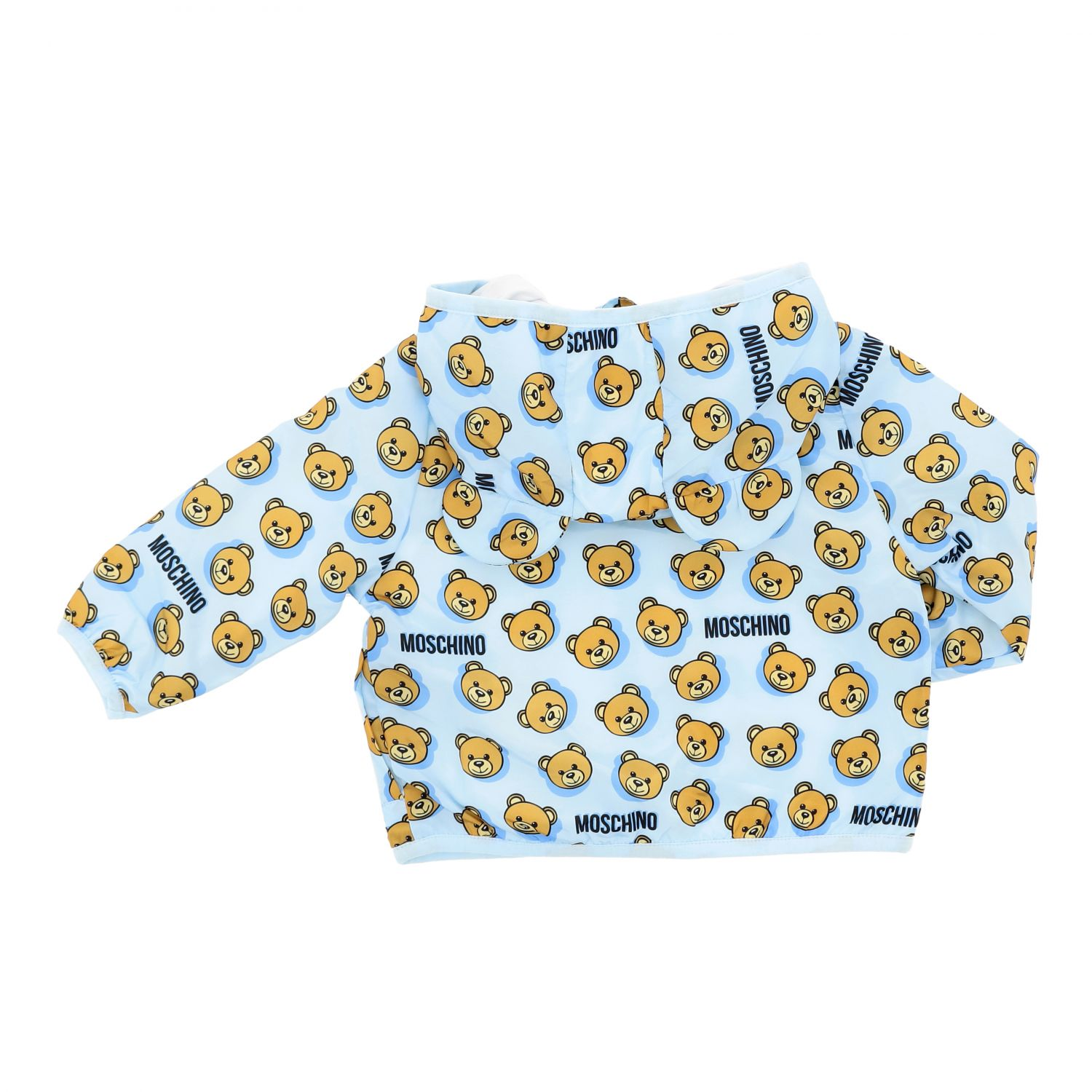 Moschino Baby jacket with hood and teddy print gnawed blue 2