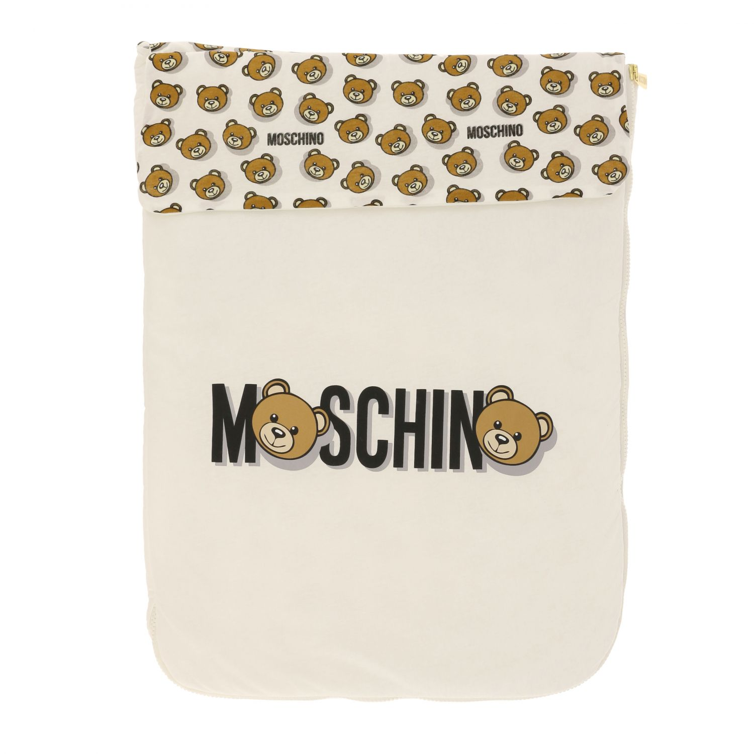 Moschino Baby sack blanket with teddy print white 1