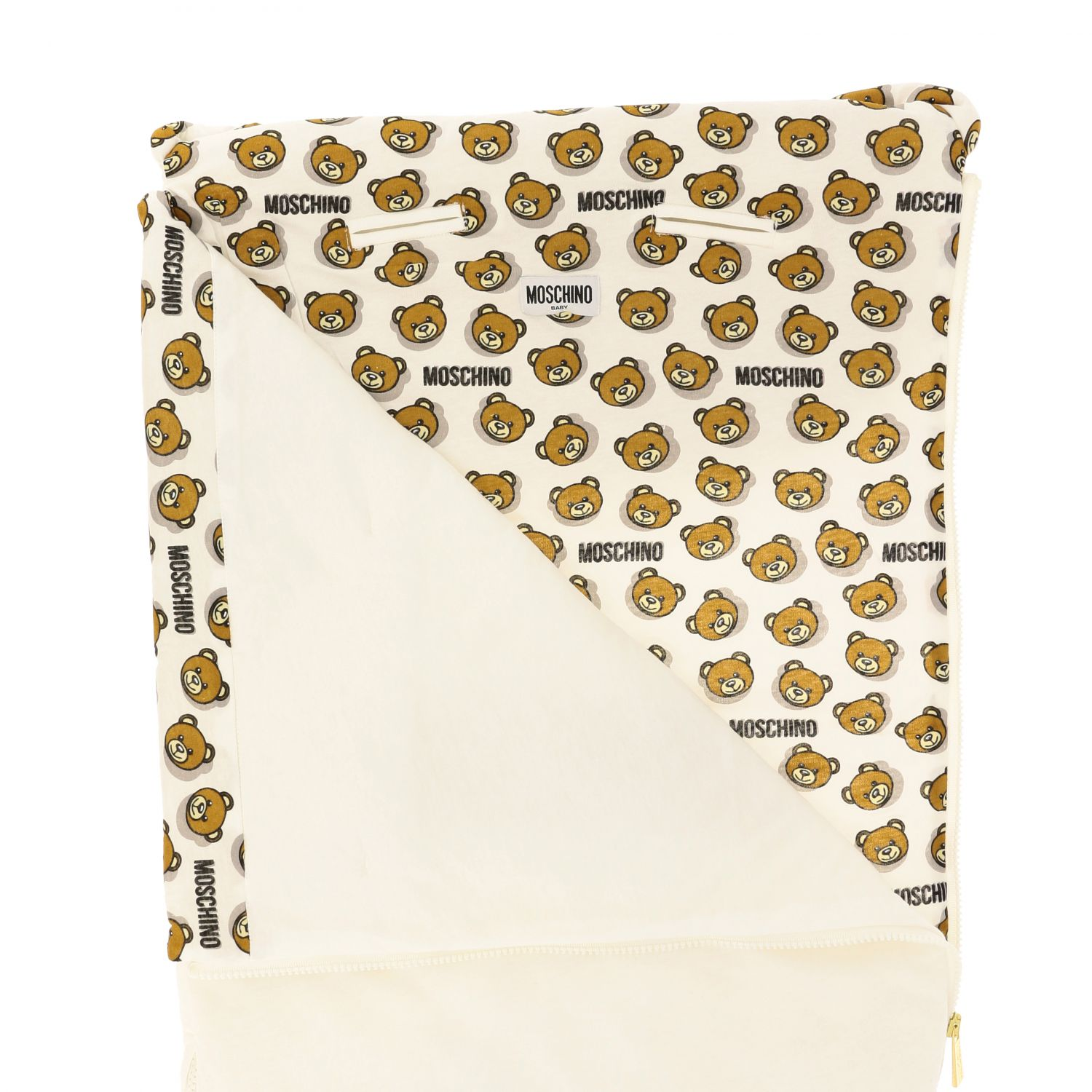 Moschino Baby sack blanket with teddy print white 3