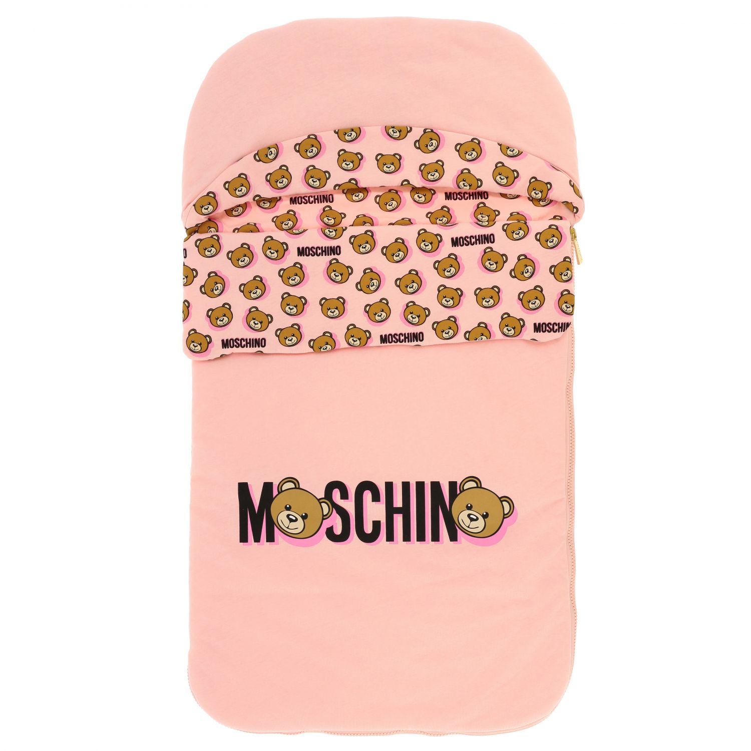 Moschino Baby sack blanket with teddy print pink 1