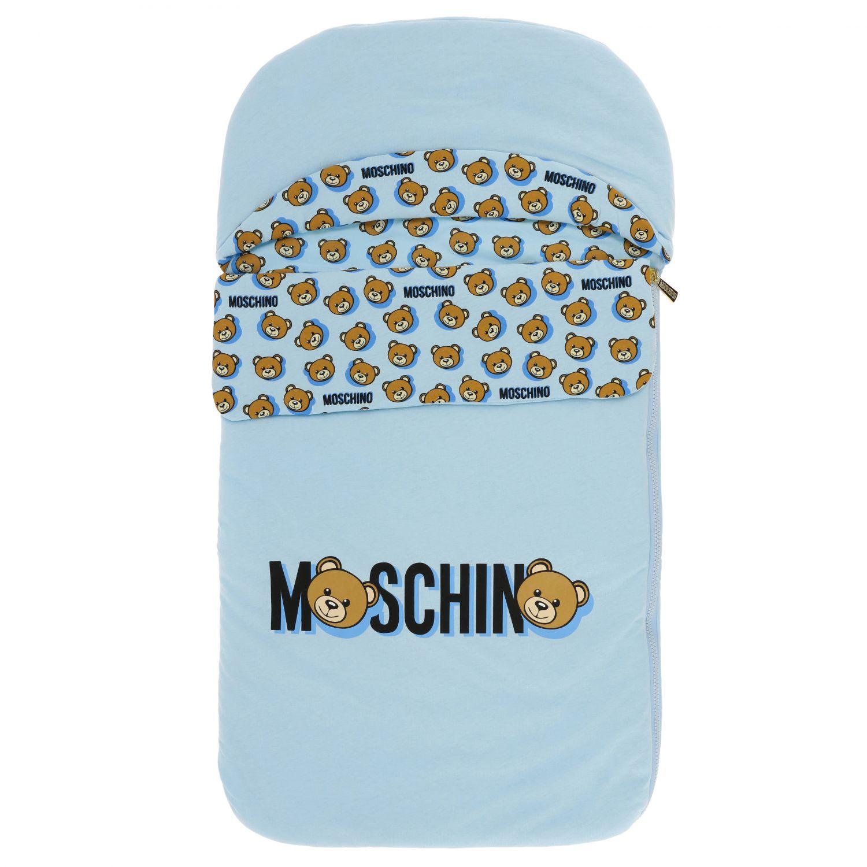 Moschino Baby sack blanket with teddy print sky 1