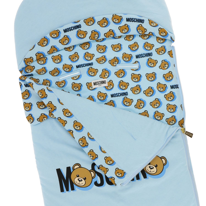 Moschino Baby sack blanket with teddy print sky 3