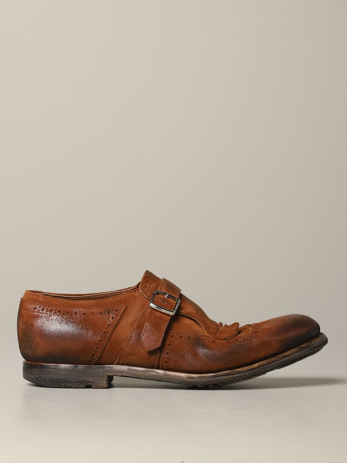Brogue shoes Church's: Church's suede loafer with fringes and buckle brown 1