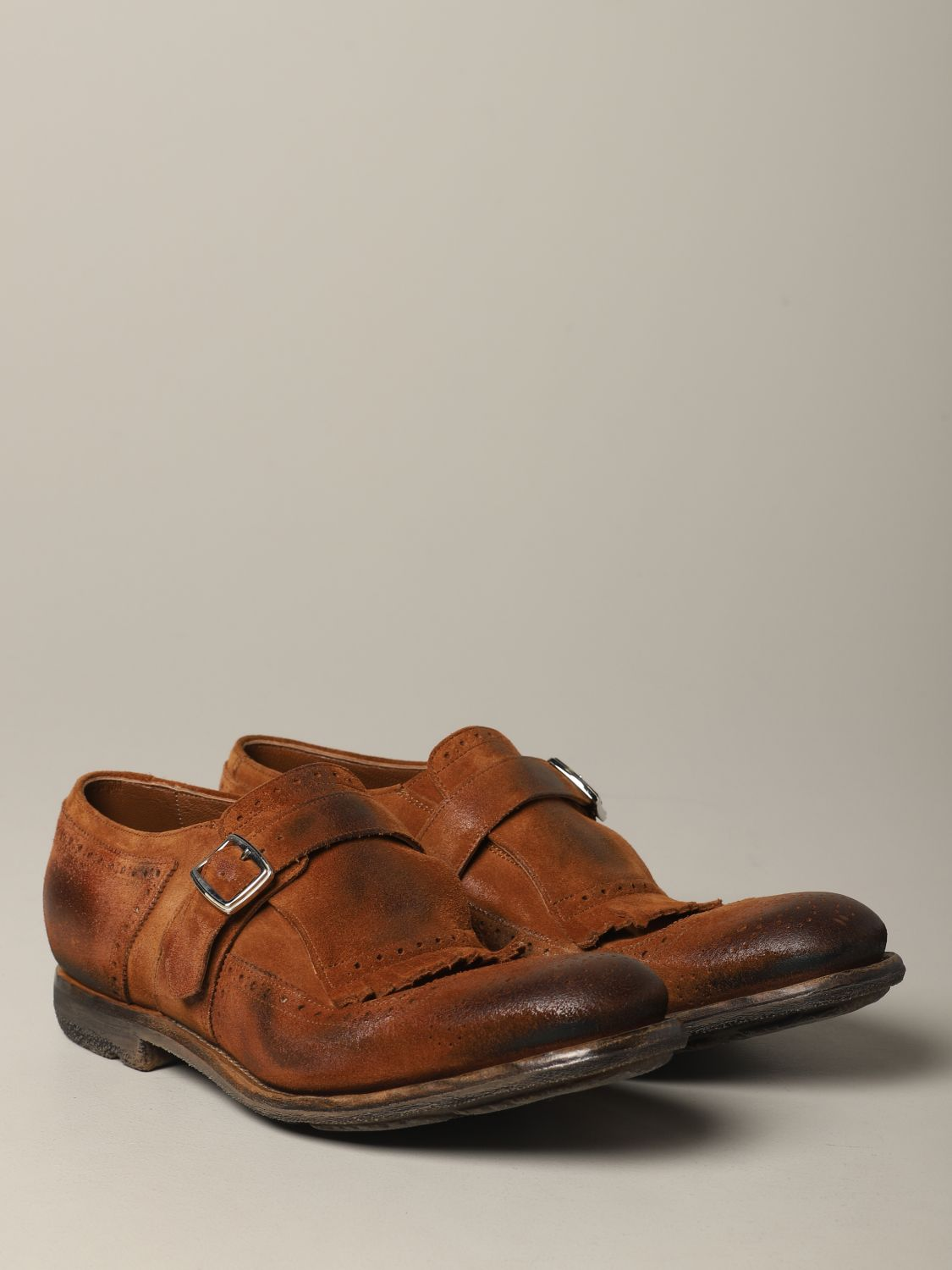 Brogue shoes Church's: Church's suede loafer with fringes and buckle brown 2