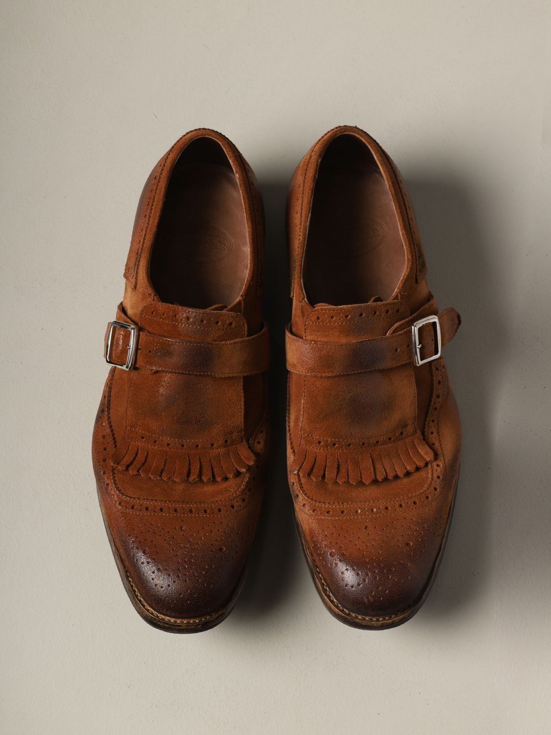 Brogue shoes Church's: Church's suede loafer with fringes and buckle brown 3
