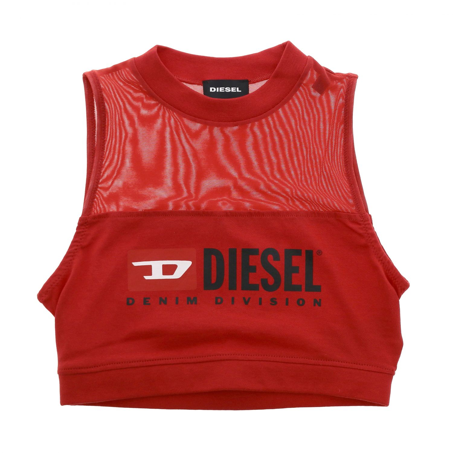 Top Diesel: Top Diesel cropped con stampa logo rosso 1
