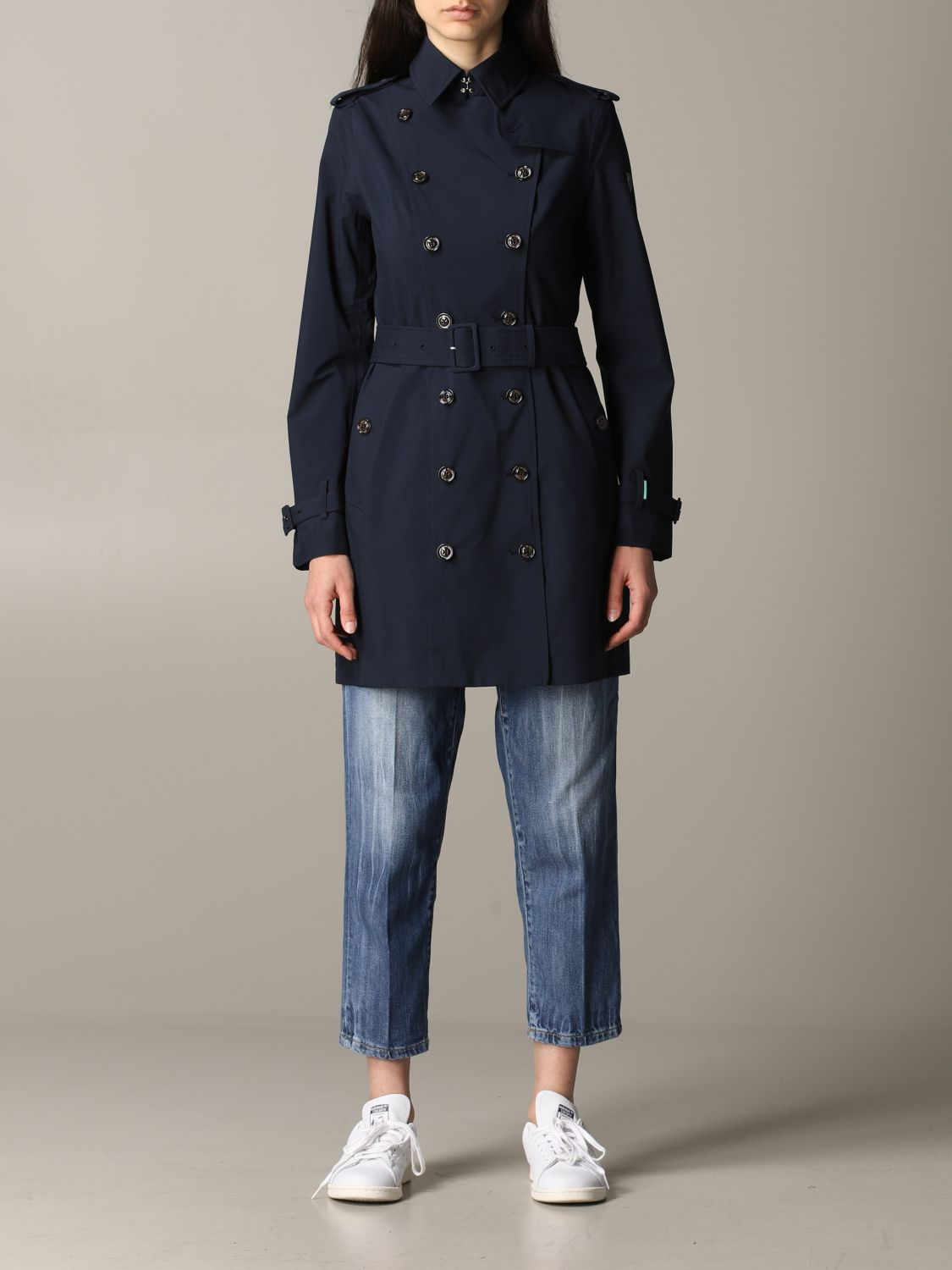 Save The Duck double-breasted trench coat with belt blue 1