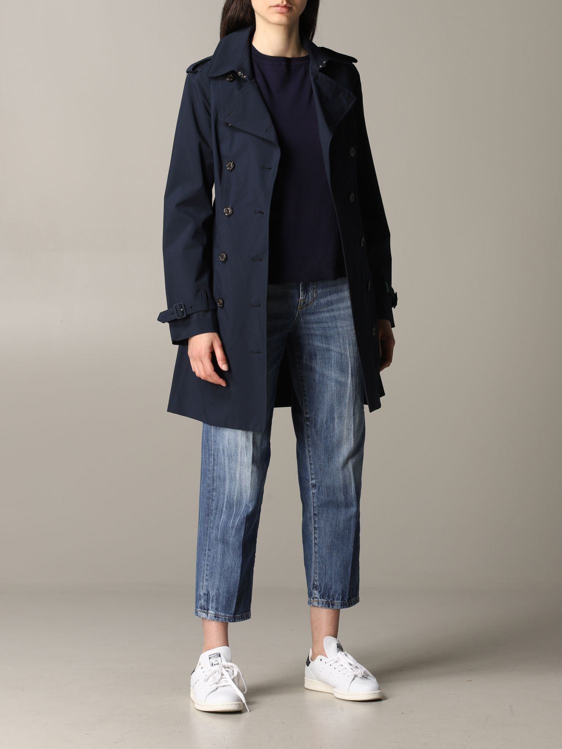 Save The Duck double-breasted trench coat with belt blue 2