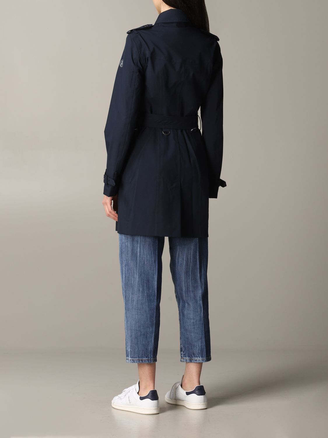 Save The Duck double-breasted trench coat with belt blue 3