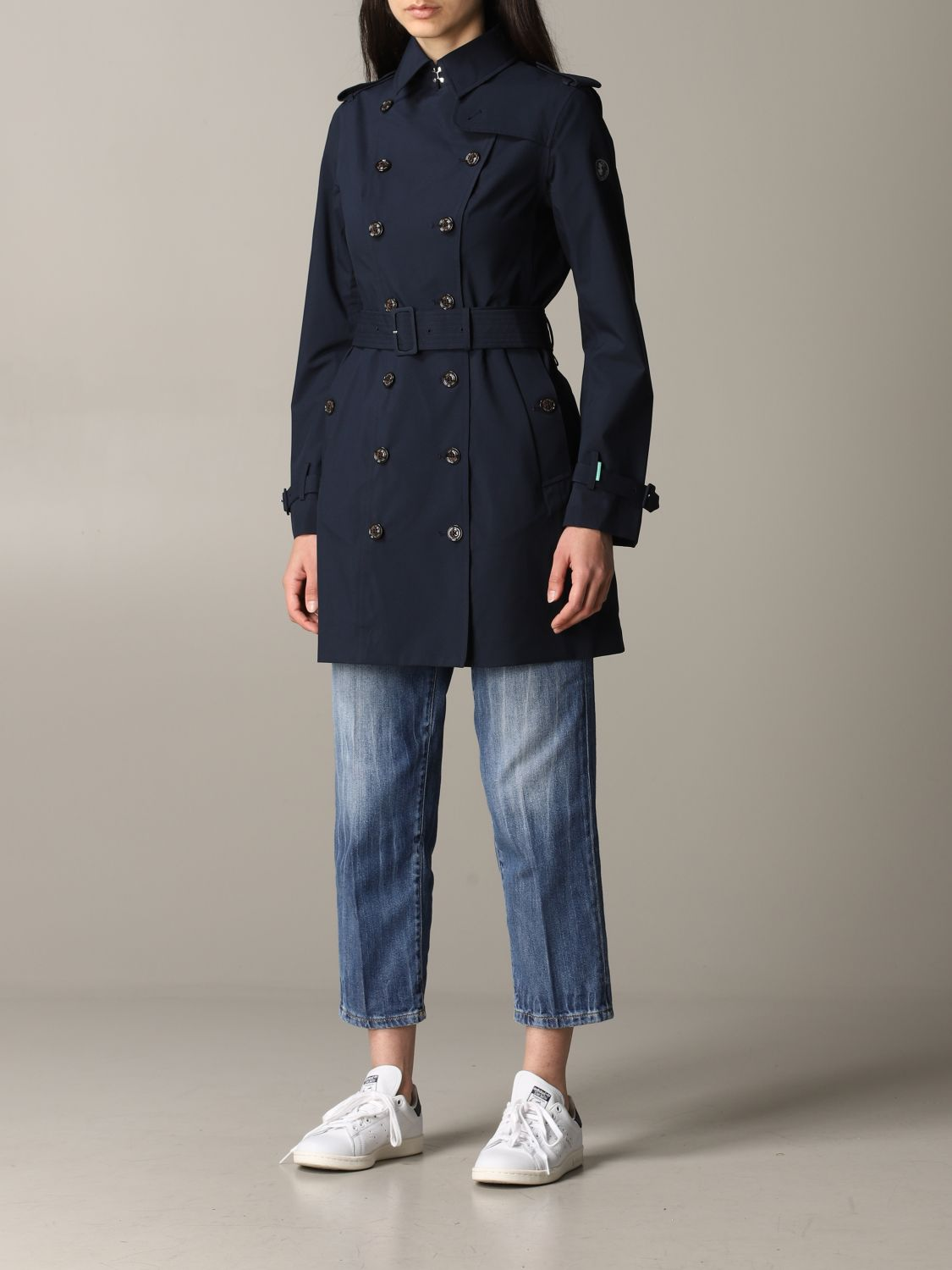 Save The Duck double-breasted trench coat with belt blue 4