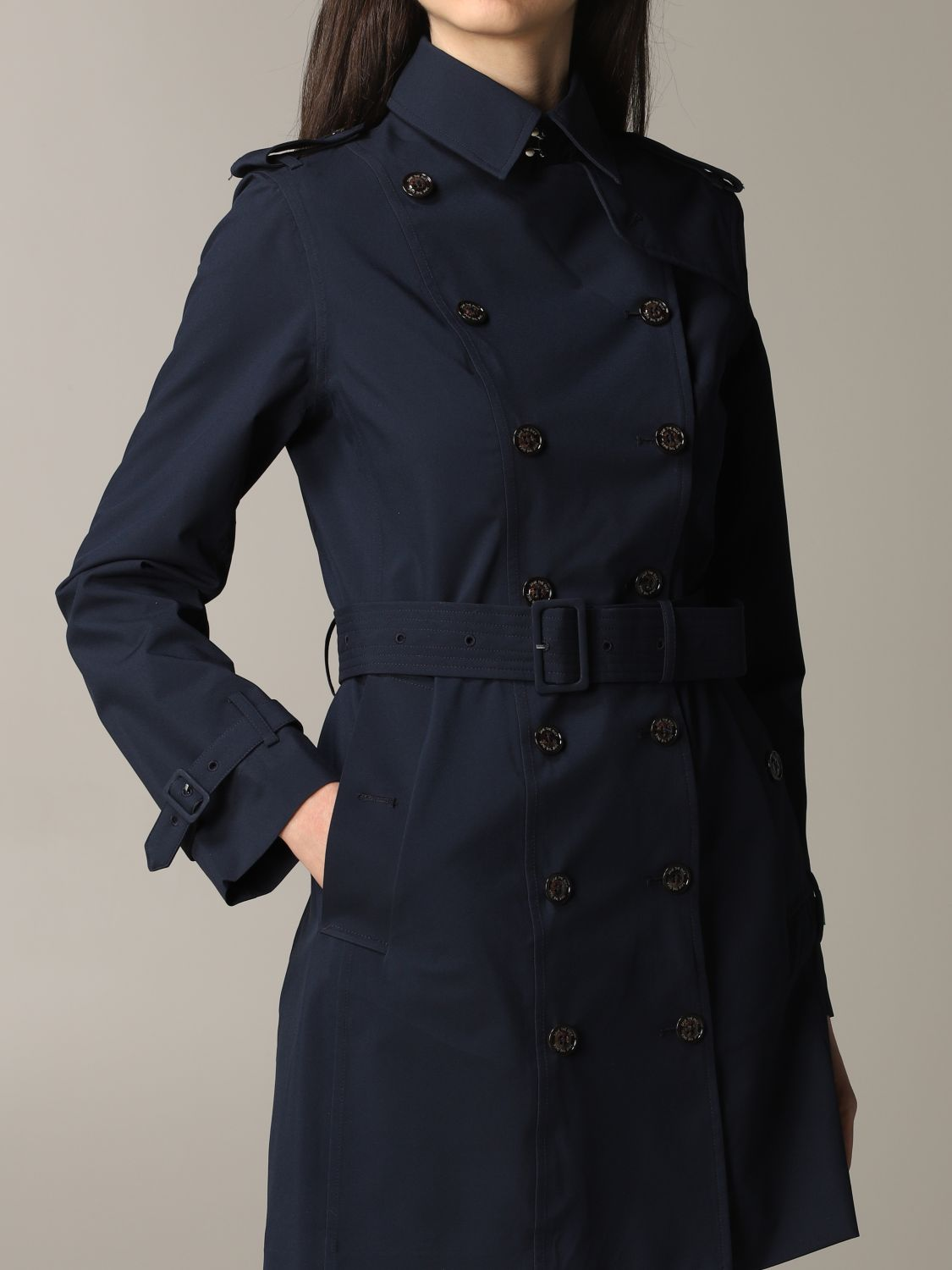Save The Duck double-breasted trench coat with belt blue 5