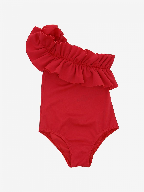 Costume Douuod: Costume Douuod a monospalla con rouches rosso 1