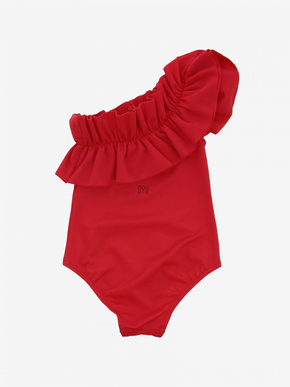 Costume Douuod: Costume Douuod a monospalla con rouches rosso 2