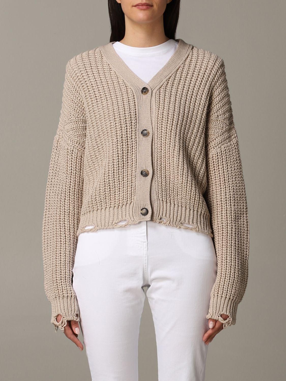Cardigan Tela in maglia con rotture beige 1