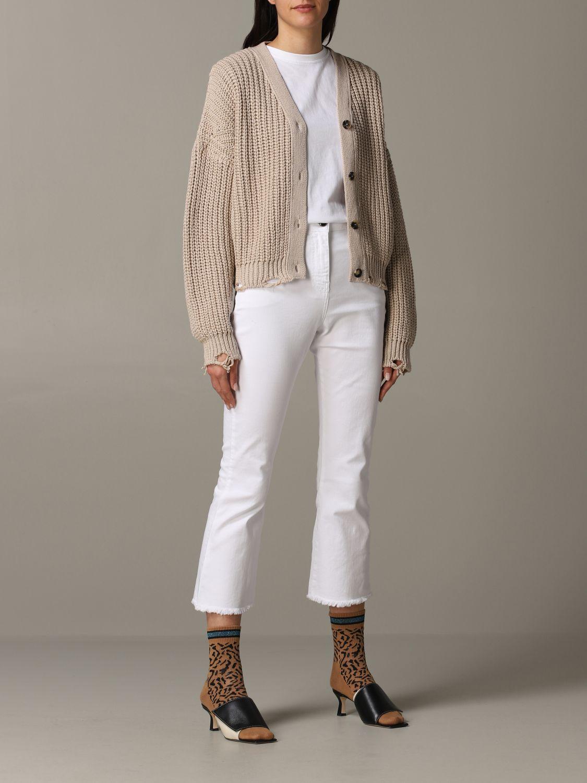 Cardigan Tela in maglia con rotture beige 2