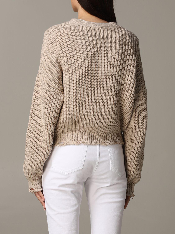 Cardigan Tela in maglia con rotture beige 4