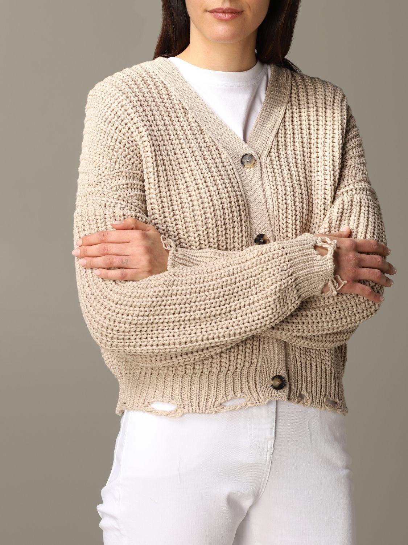Cardigan Tela in maglia con rotture beige 5