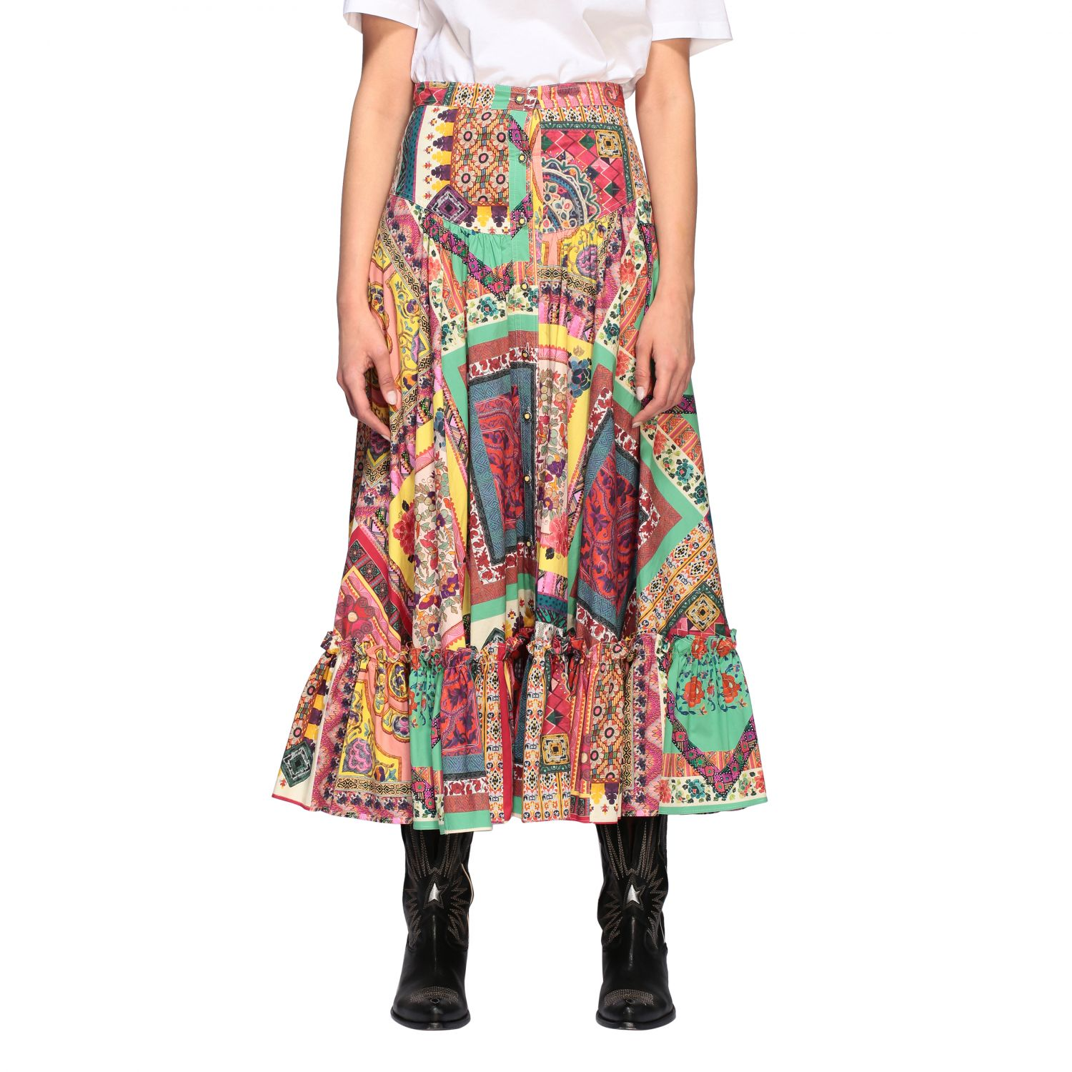 Long and printed Etro skirt with buttons multicolor 1