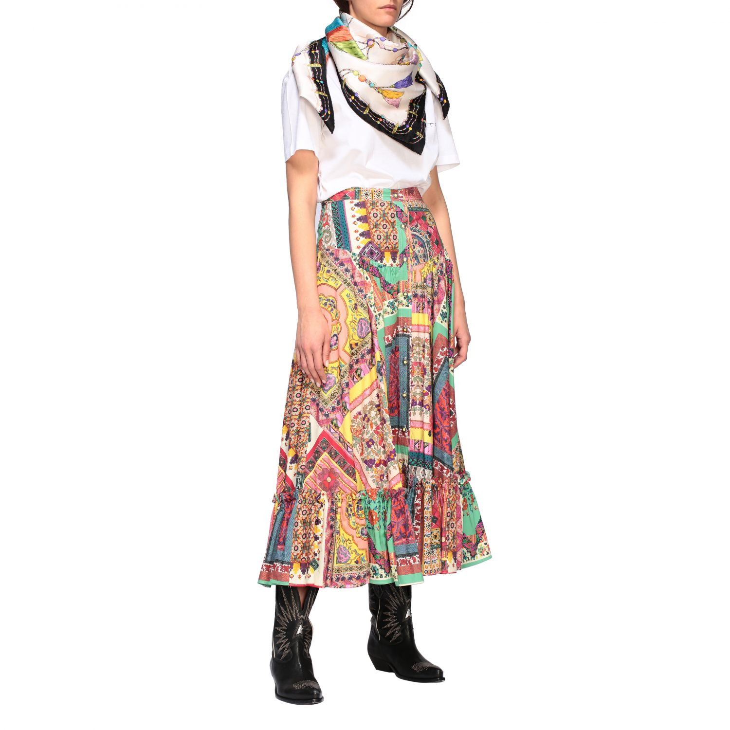 Long and printed Etro skirt with buttons multicolor 2
