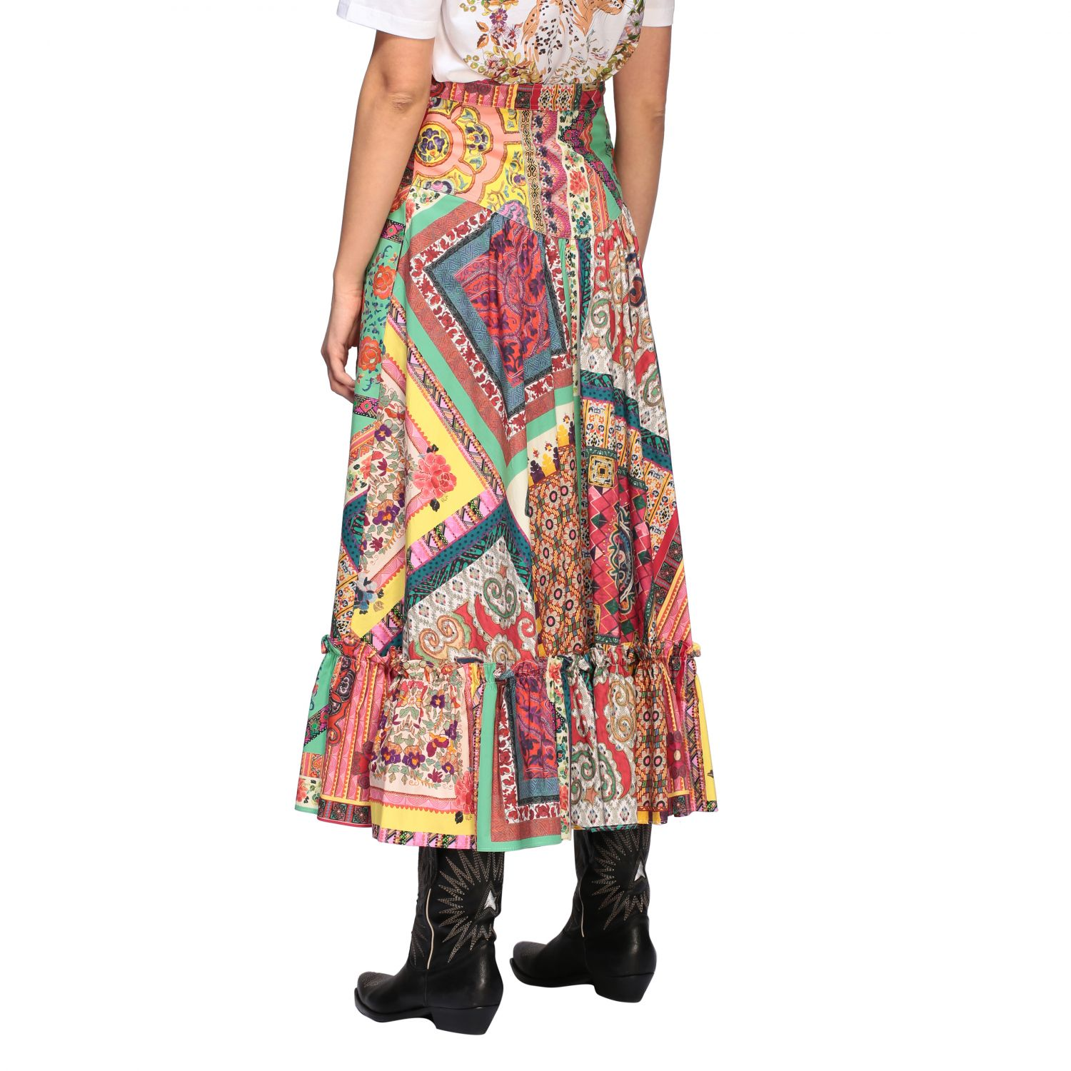 Long and printed Etro skirt with buttons multicolor 3