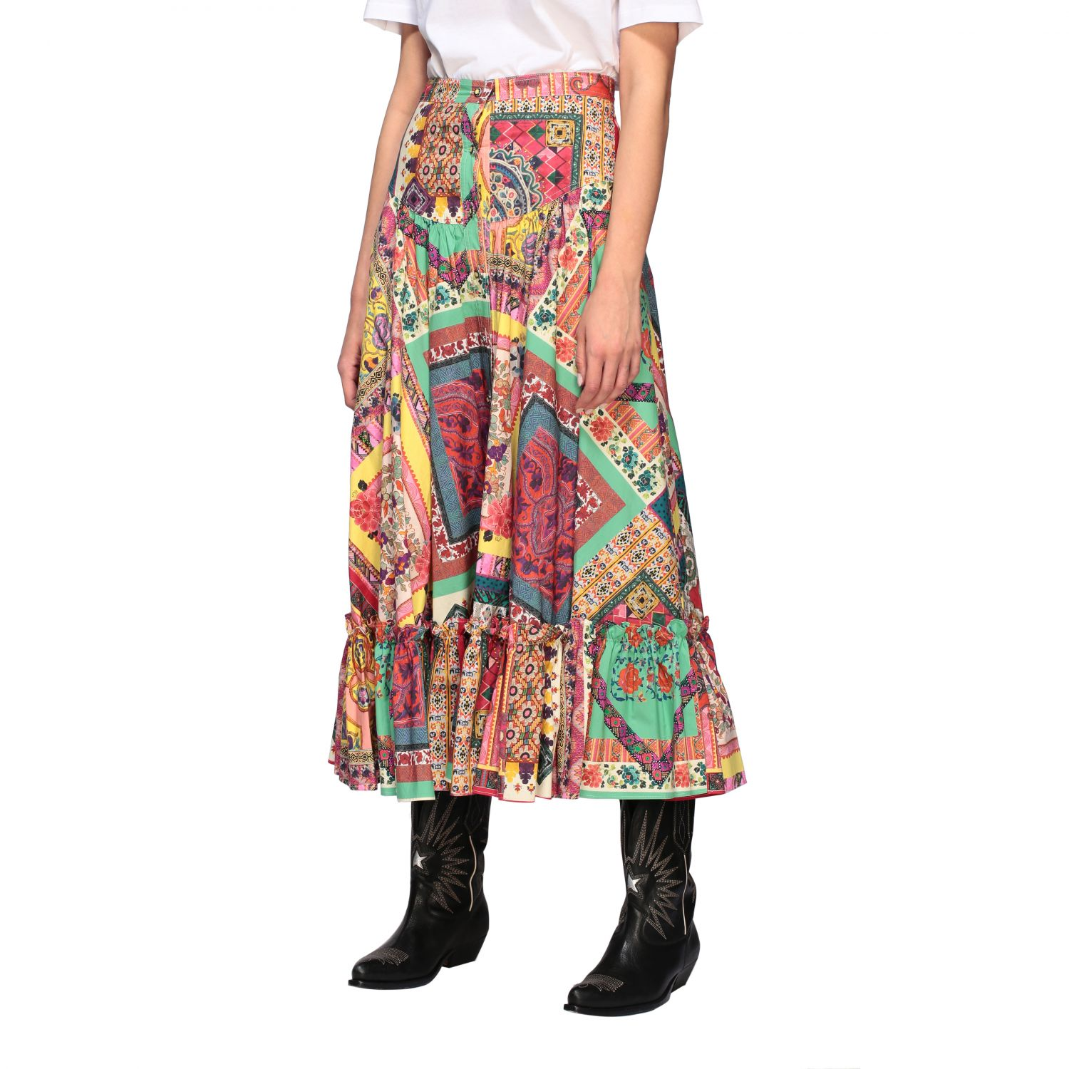 Long and printed Etro skirt with buttons multicolor 4