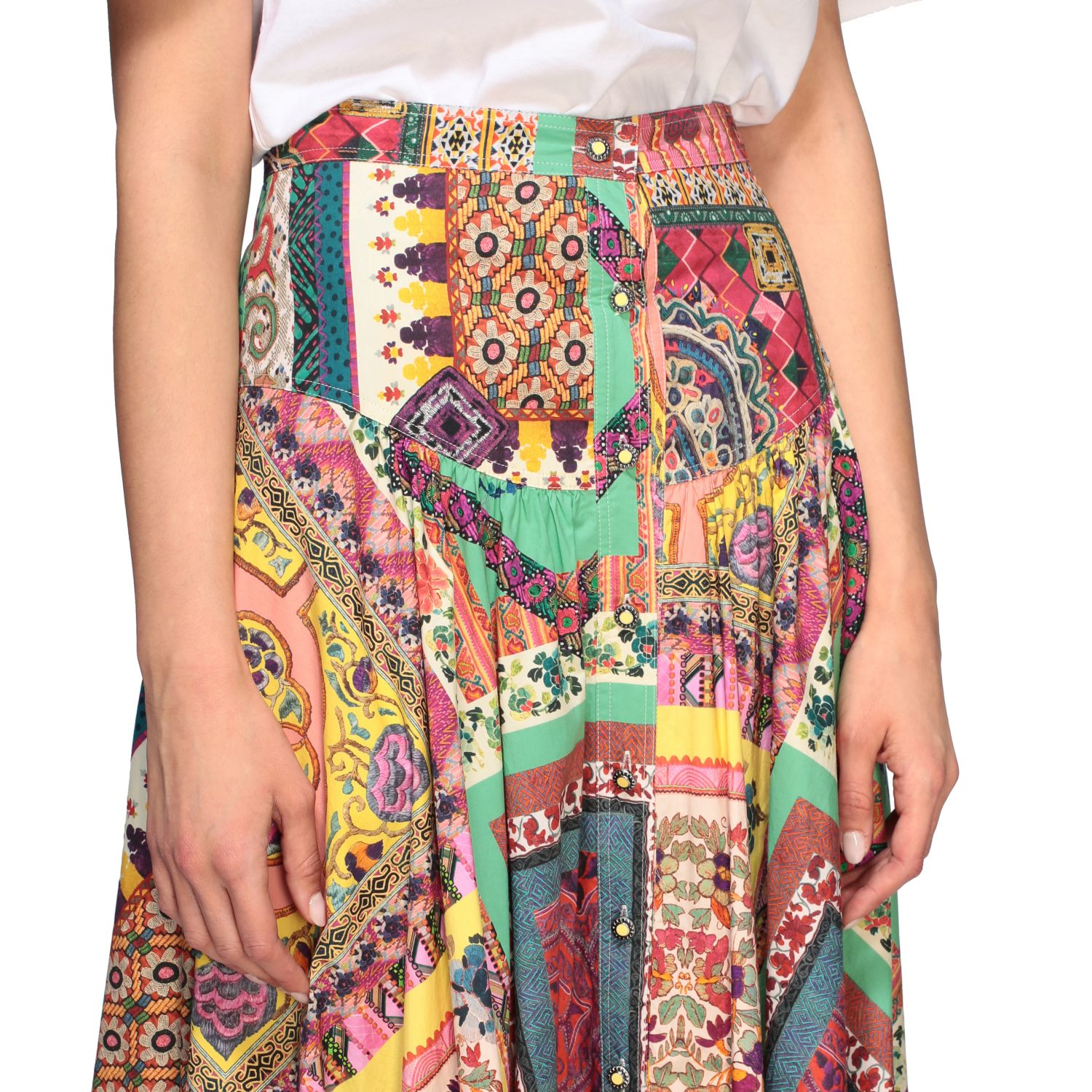 Long and printed Etro skirt with buttons multicolor 5