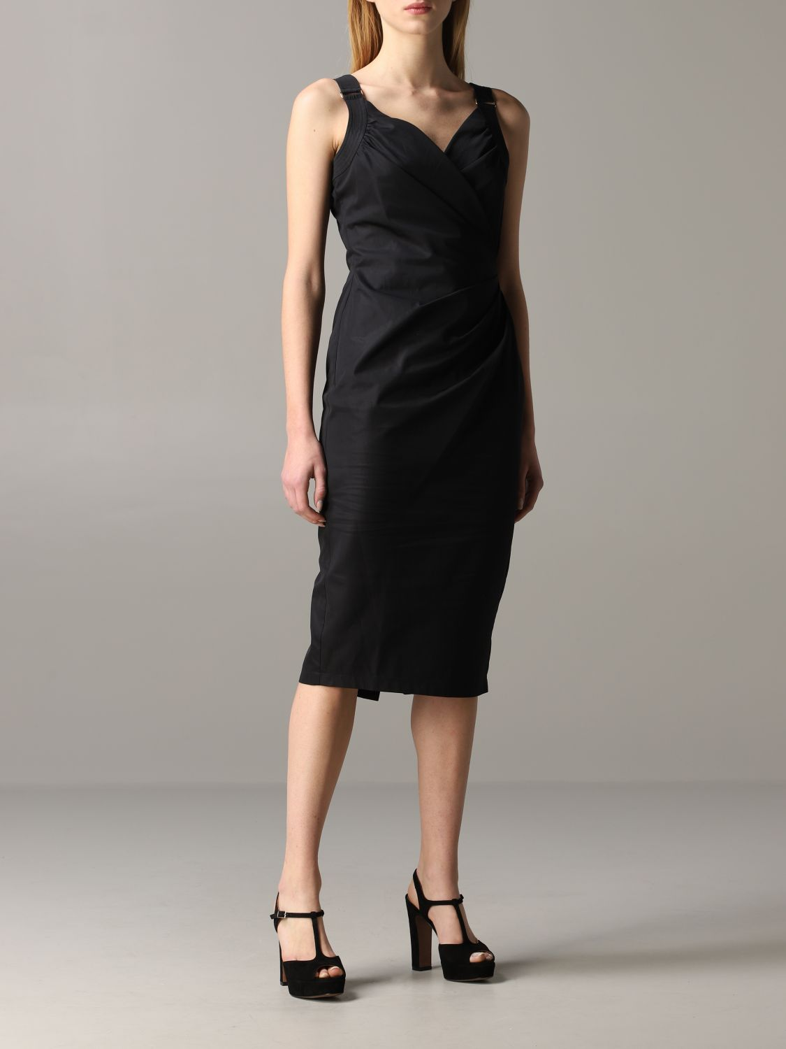 Max Mara draped dress black 1