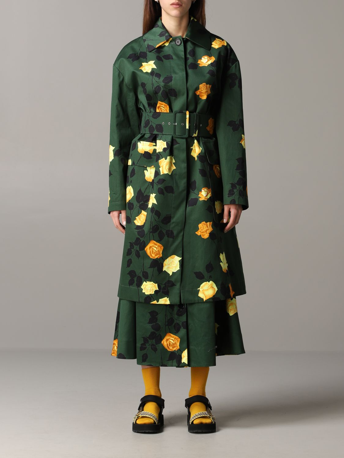 Msgm coat with floral pattern military 1