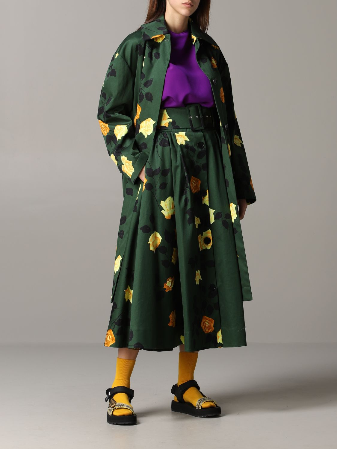 Msgm coat with floral pattern military 2