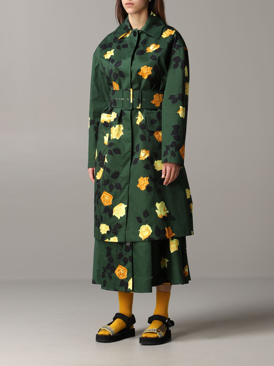 Msgm coat with floral pattern military 4