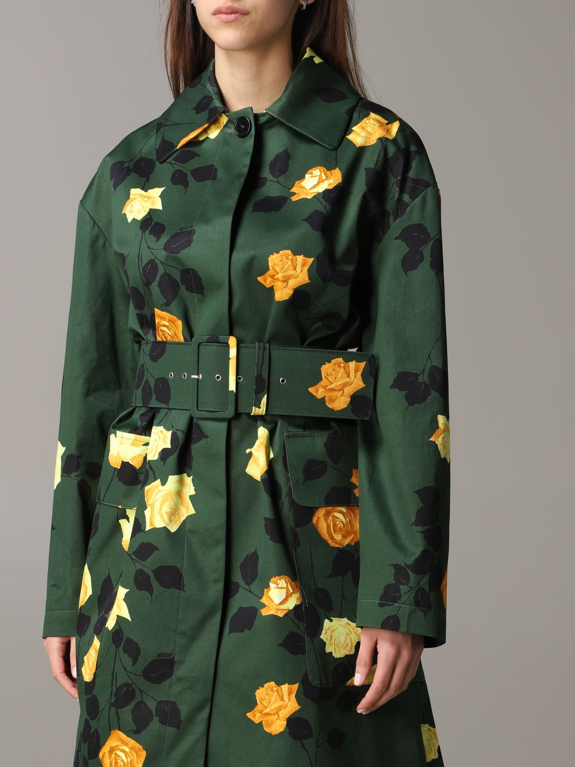 Msgm coat with floral pattern military 5