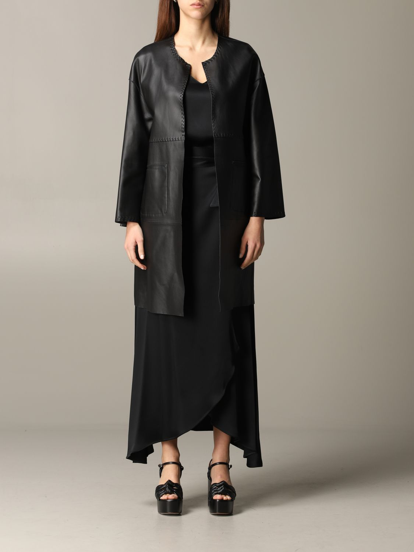 Maliparmi leather coat black 1