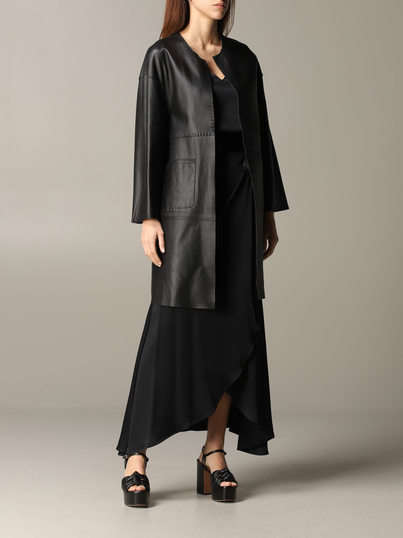Maliparmi leather coat black 2