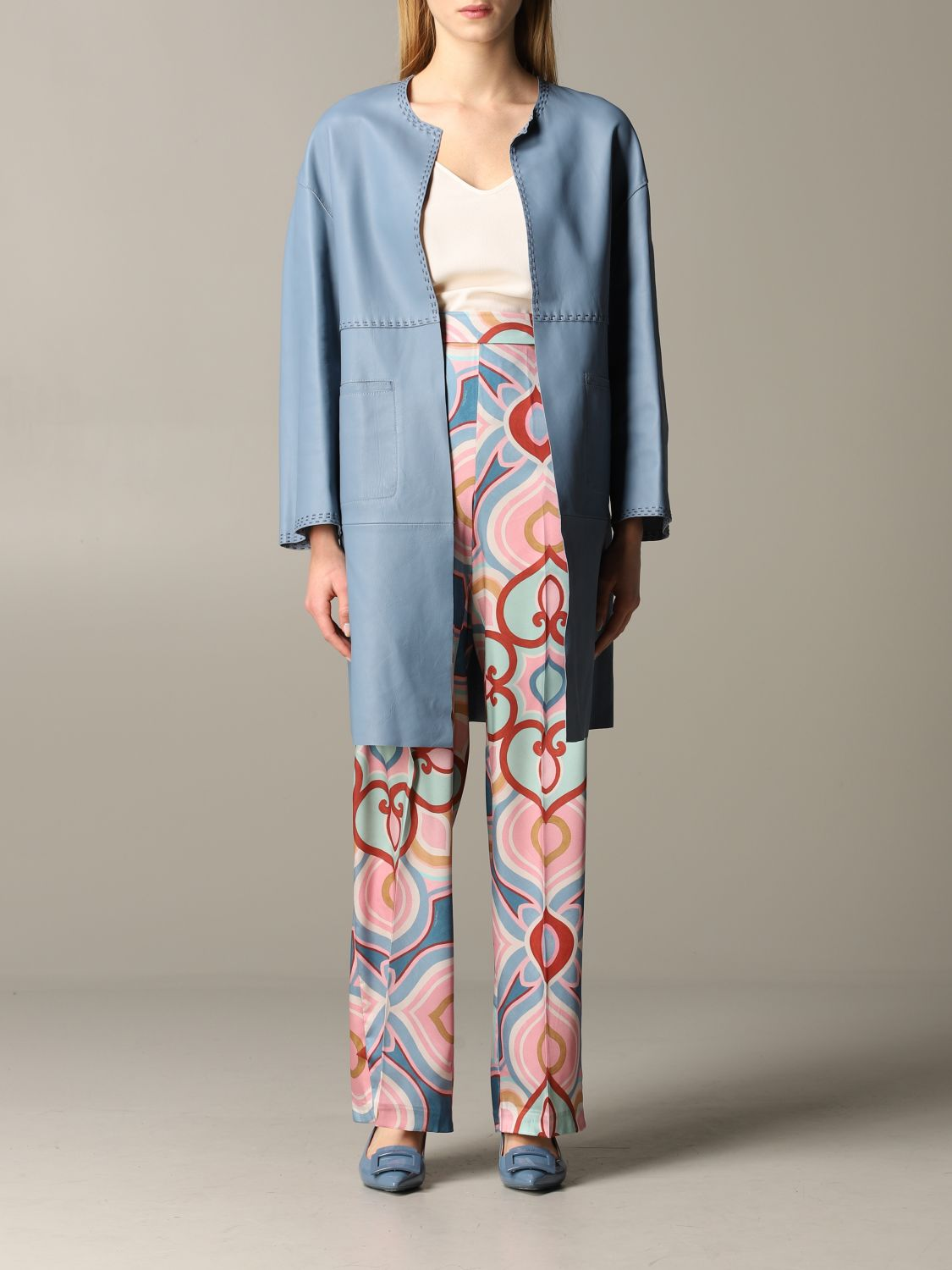Maliparmi leather coat sky blue 1