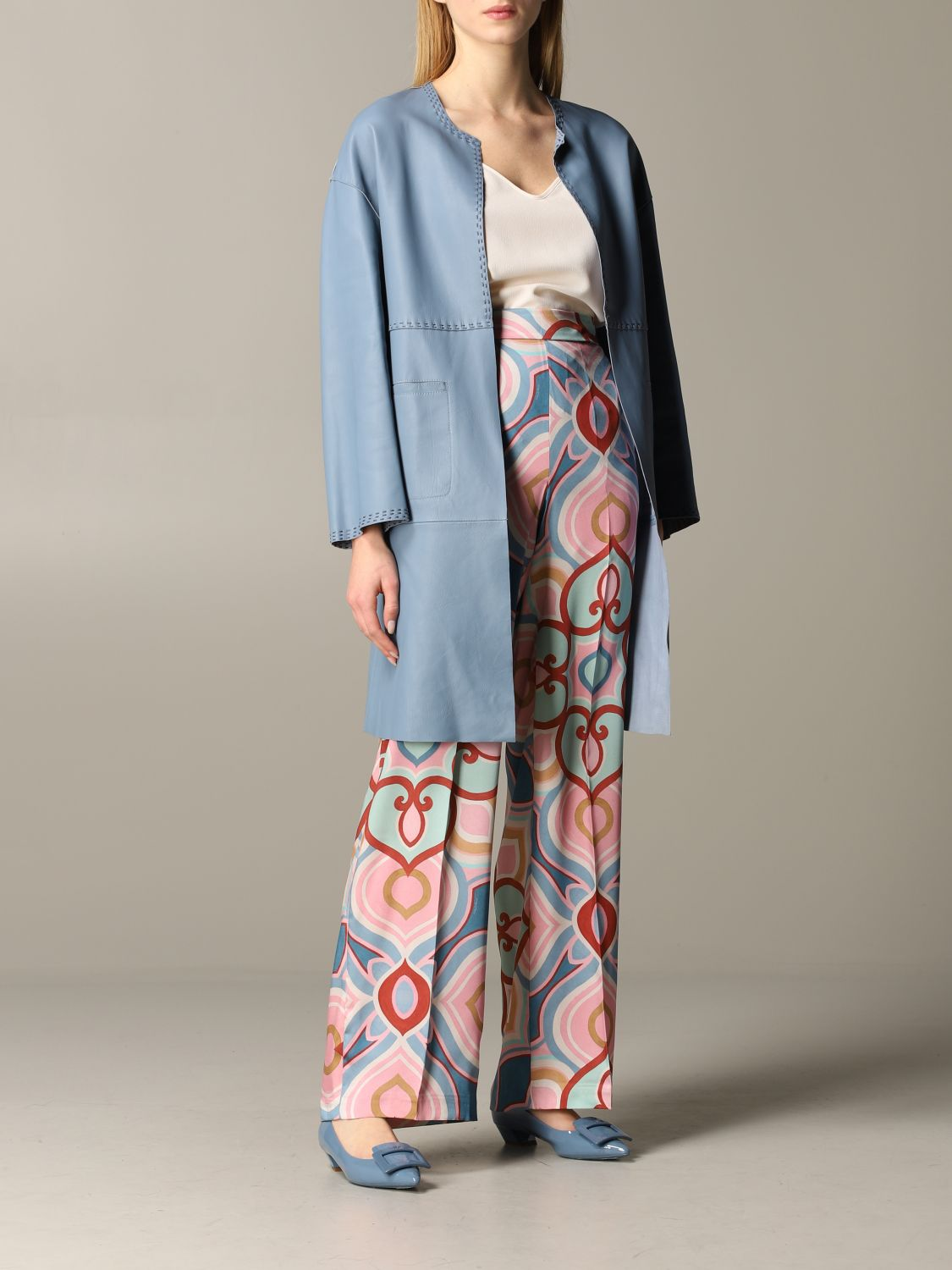 Maliparmi leather coat sky blue 2