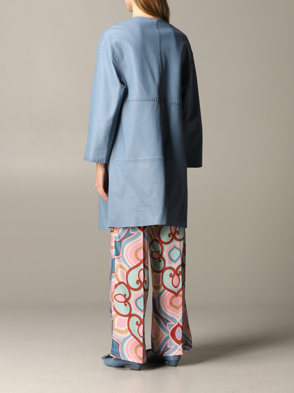 Maliparmi leather coat sky blue 3