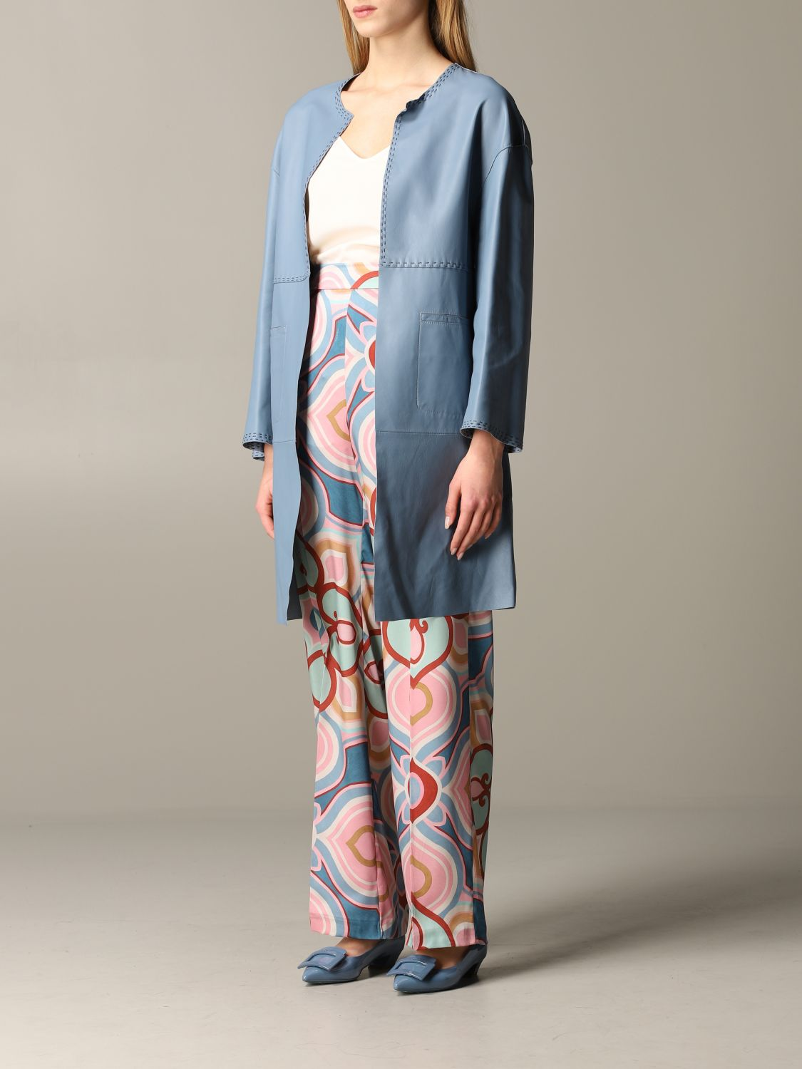 Maliparmi leather coat sky blue 4