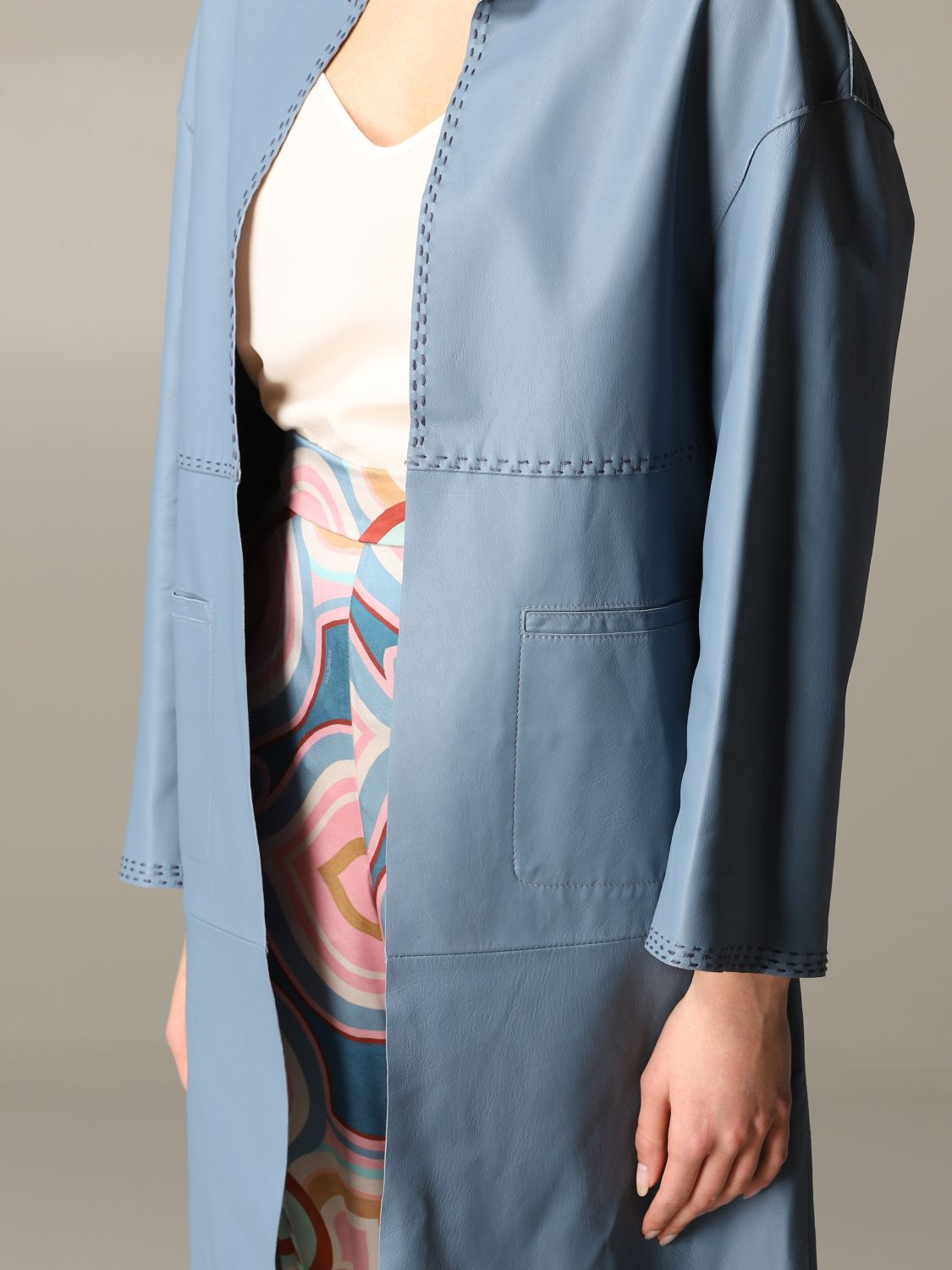 Maliparmi leather coat sky blue 5