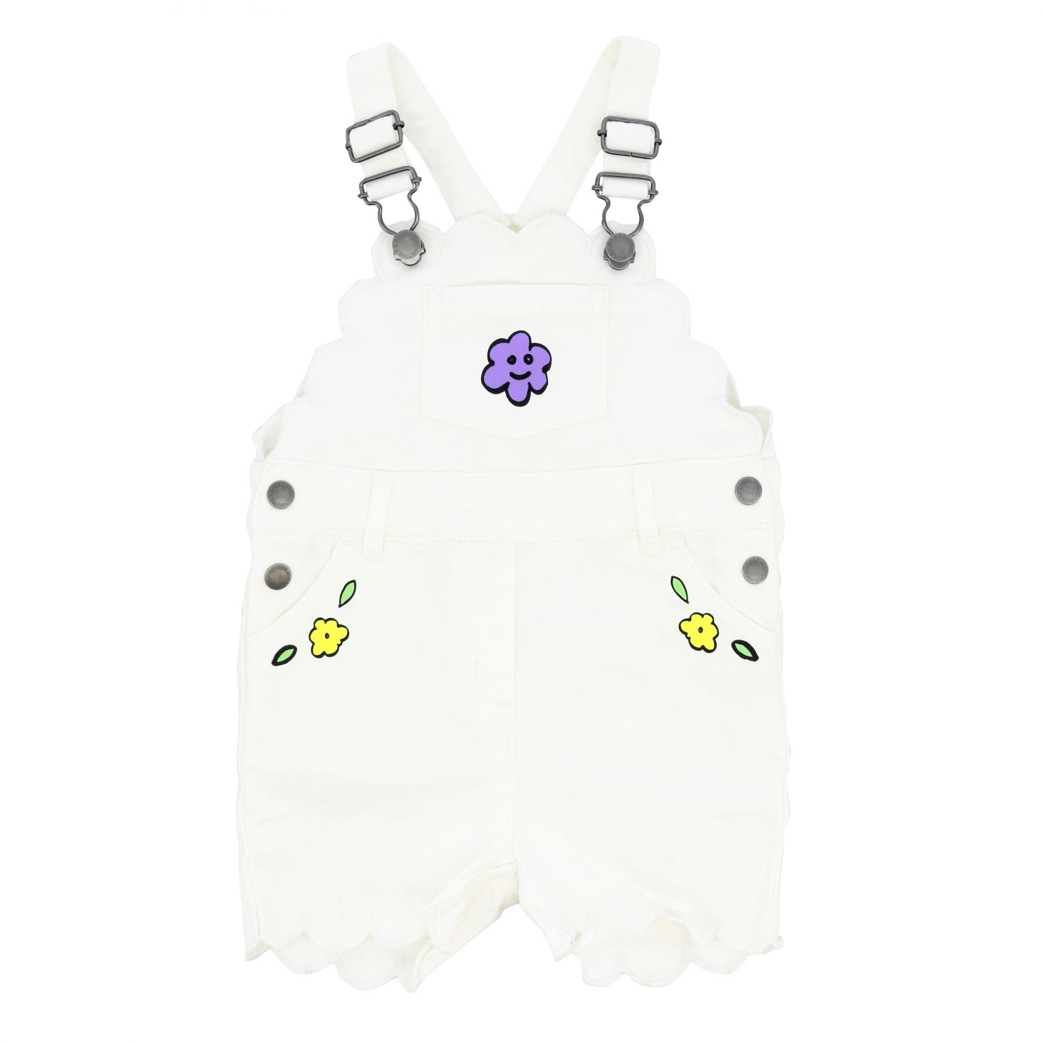 Stella McCartney dungarees with floral prints yellow cream 1