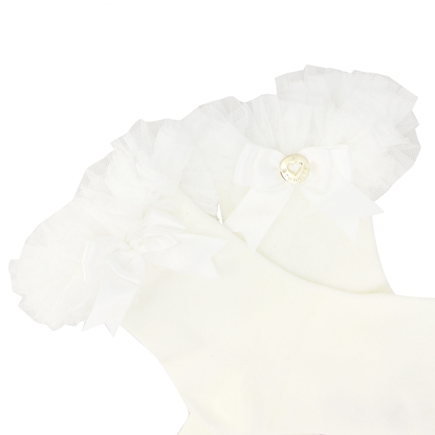 Twin-set cotton socks with ruffles and bows white 2
