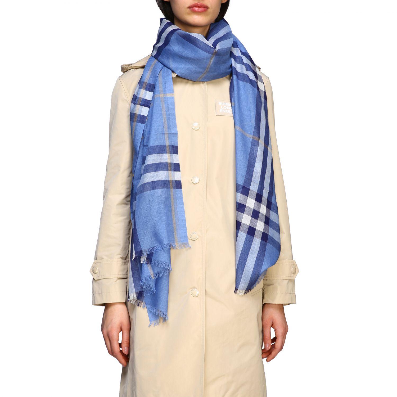 écharpe femme Burberry bleu azur 1