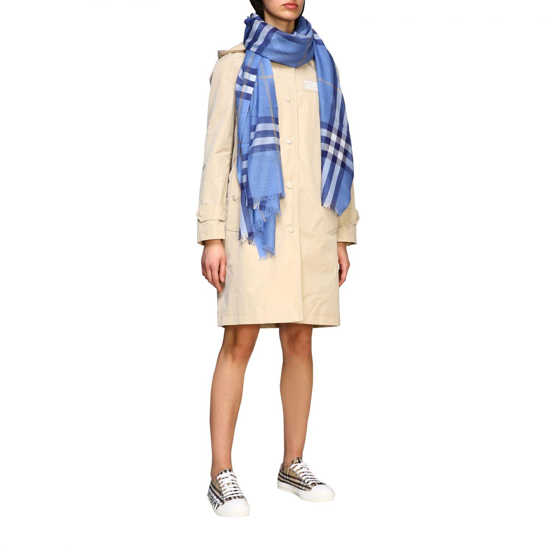 écharpe femme Burberry bleu azur 2