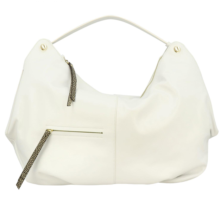 Borbonese Handtasche aus glattem Leder mit Reißverschluss weiß 1