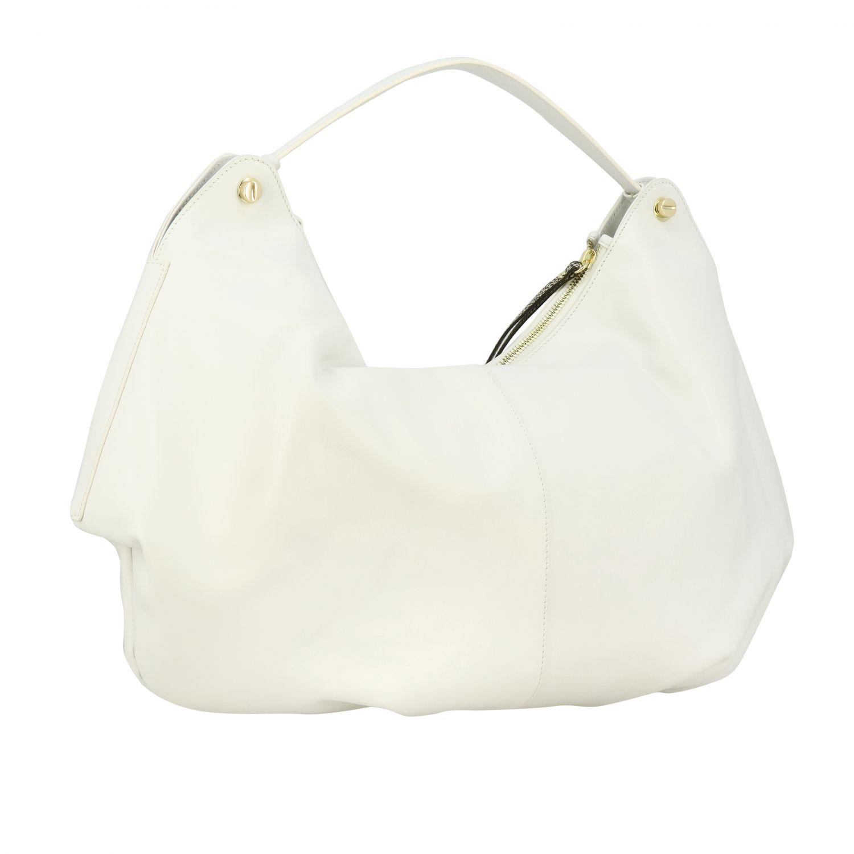 Borbonese Handtasche aus glattem Leder mit Reißverschluss weiß 3