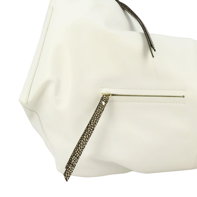 Borbonese Handtasche aus glattem Leder mit Reißverschluss weiß 4