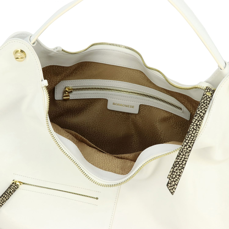 Borbonese Handtasche aus glattem Leder mit Reißverschluss weiß 5