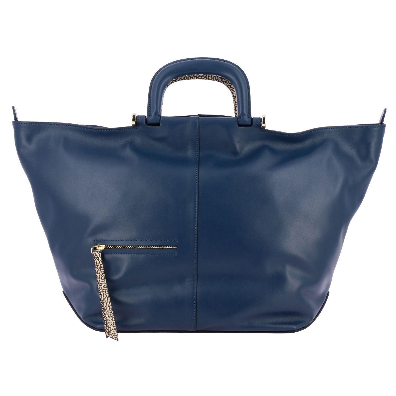 Borbonese Handtasche aus Leder blau 1