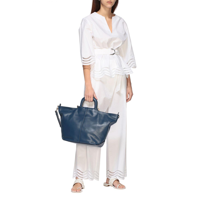 Borbonese Handtasche aus Leder blau 2