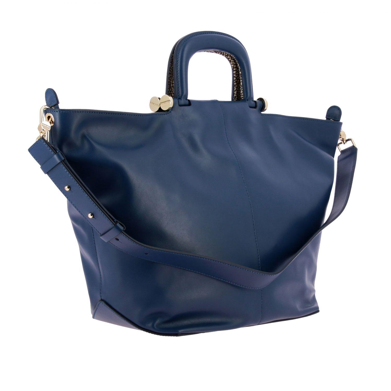 Borbonese Handtasche aus Leder blau 3