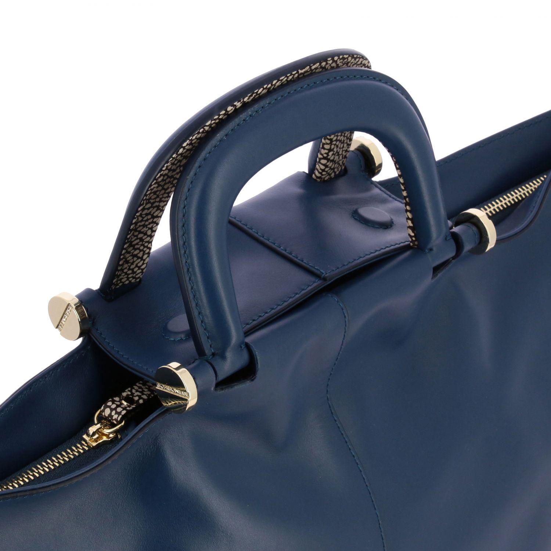 Borbonese Handtasche aus Leder blau 4